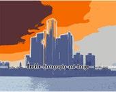Detroit Orange Skyline Digital Artwork