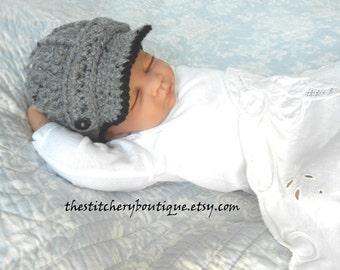 Baby boy hat  photo prop hat  gray  newborn boy coming home outfit crochet newsboy hat  wool tweed baby boy gift