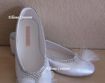 READY to SHIP. Bridal Shoes. Wedding Ballet Slippers. Size 7.