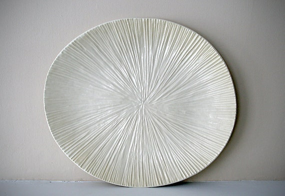 "Hand-Carved, Large, Cream-Colored Stoneware Platter / Handmade Organic Sea Creature Plate / ""SAND DOLLAR A"""