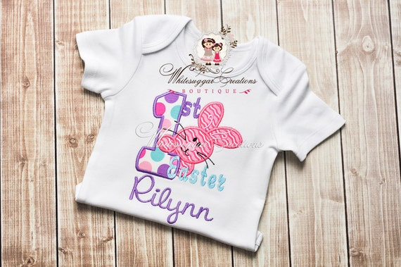 Baby Girl First Easter - Embroidered Shirt - Personalized Shirt - Easter Outfit - First Easter Shirt - Girls Bunny Shirt