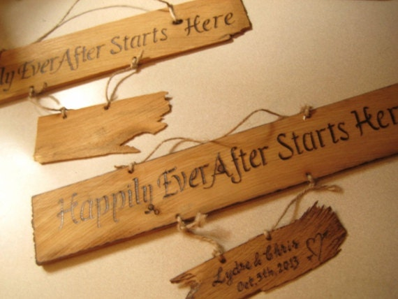 RESERVED for Lydse -Three wedding signs wood burning on vintage barnwood