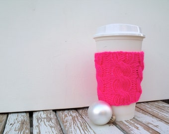 Coffee Cup Sleeve, Coffee Mug Cozy - Cable Knit Coffee Cup Cozy in Noen Pink