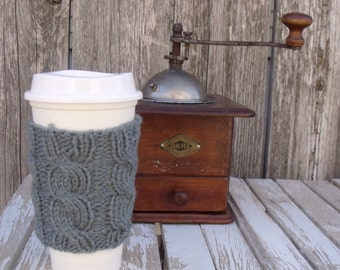Coffee Sleeve, Cable Knit Coffee Cup Cozy, Coffee Cozy, Steel Gray, Coffee Mug Cozy, Cup Sleeve, Mug Sleeve, Grey, Gray, Steel Gray