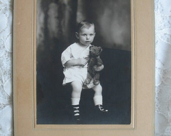 Vintage Photo of Toddler and His Teddy Bear........Strappy Shoes......Mounted on Card