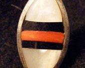 Zuni style shell inlay ring, signed SB