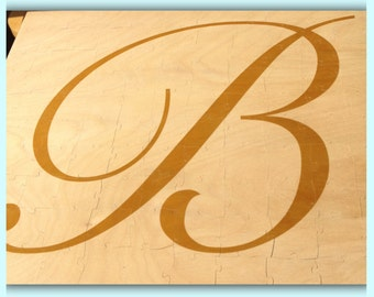 100 Piece Monogram Wood Wedding Guestbook Puzzle 17x24x1/4 inches