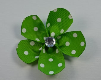 Green with white polka dot large flower hair alligator clip with clear bling faceted rhinestone
