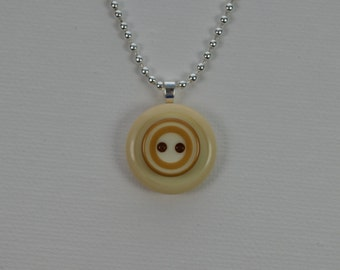 "Vintage button pendant necklace, antique white & tan, 18"" sterling silver ball chain"