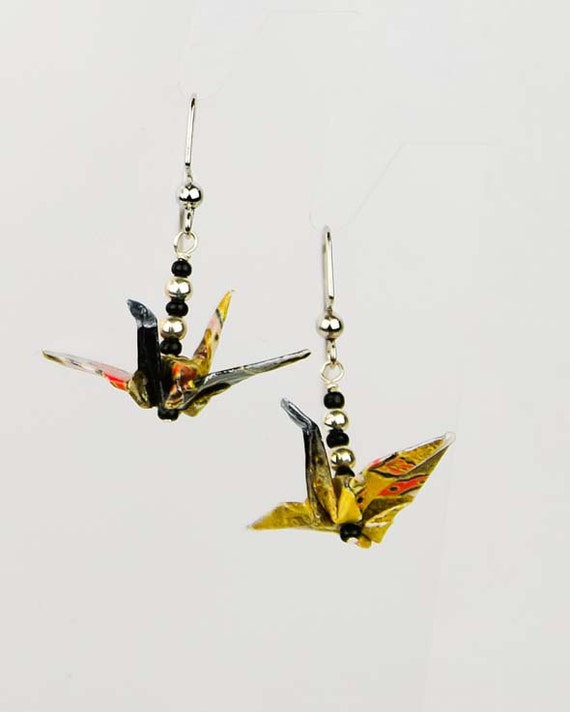 Eco-Friendly Origami Peace Crane Earrings - Hand-Made in Black and Gold