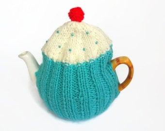 tea cosy cosie cupcake aqua and cream wool uk seller