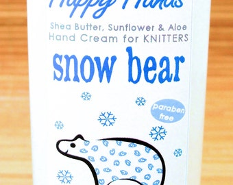 Snow Bear Scented Hand Cream for Knitters - 4oz Medium HAPPY HANDS Shea Butter Hand Lotion