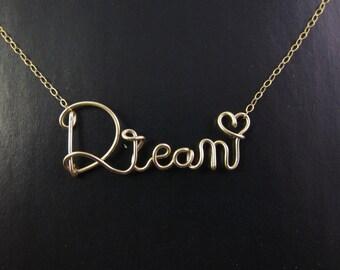 Gold Wire Dream Necklace, Cursive Name Necklace, Personalized Wire Name Necklace, Rose Gold Wire Word Necklace, Personalized Name Necklace
