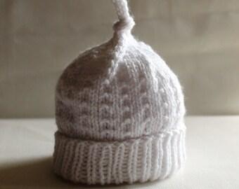 Soft White Baby Hat, 0-6 Months, Newborn