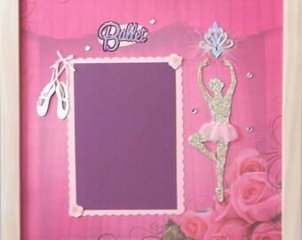 GLITTER BALLERINA Memory Album Page (Whitewash Veneer Shadow Box Frame Sold Separately)