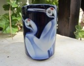 Ceramic Deep Blue Vintage Bird Vase
