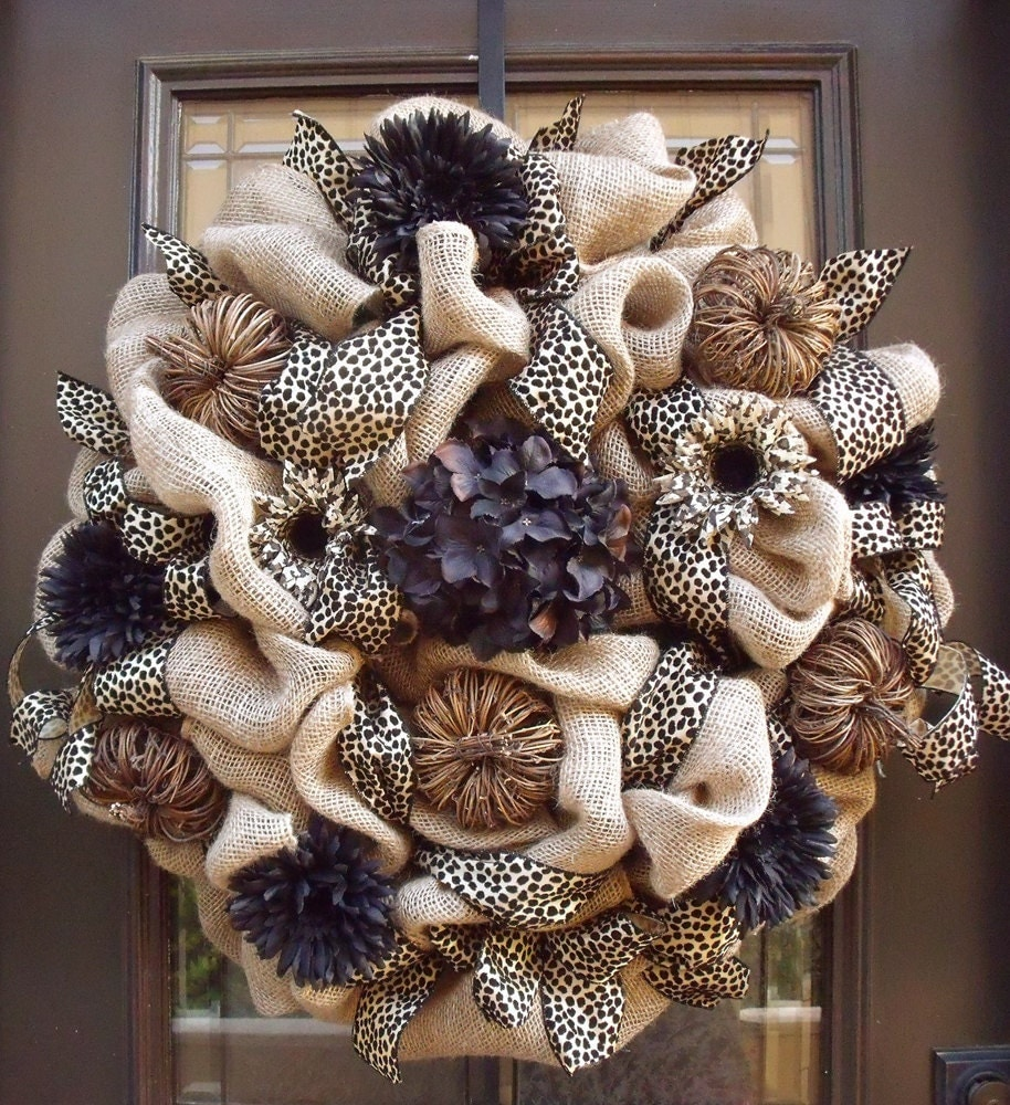 Xxl Burlap Door Wreath Fall Wreaths Burlap Fall Leopard