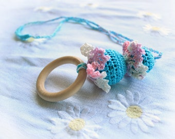 Nursing Necklace, Teething Necklace, Necklace for Nursing Mom, Nand Crochet, Absolutely Natural Materials , Baby Pink and Blue