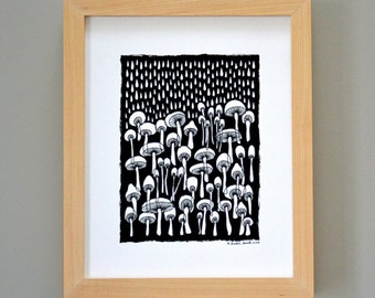 Rainy Mushrooms Ink Illustration