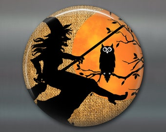 halloween decor, halloween witch decorations, halloween magnet, kitchen decor, owl silhouette magnet, large magnet  MA-1333
