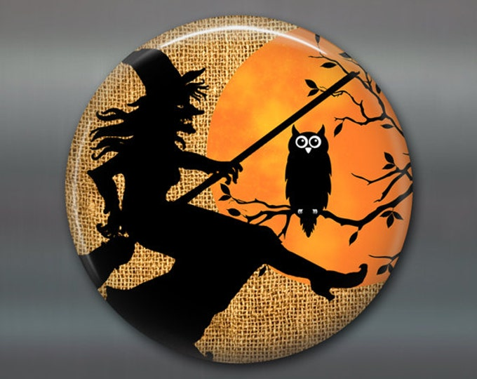 halloween witch decorations, halloween magnet, kitchen decor, halloween decor,  owl silhouette magnet, large magnet  MA-1333