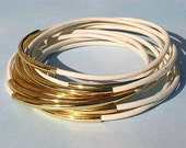 10 Leather Bangles Bracelets White Leather And Gold Metal Tubes