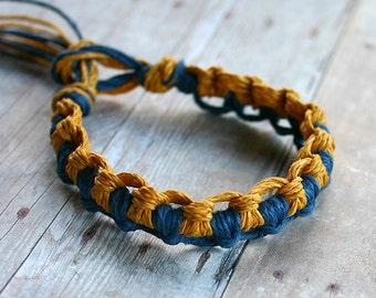 Surfer Thick Hemp Bracelet Or Anklet Interlocking Knots Blue Gold