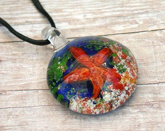 Leather Necklace with Glass Starfish Pendant
