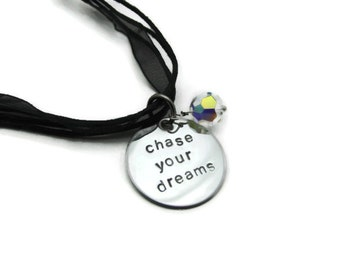 Handstamped Inspirational Necklace - chase your dreams