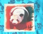 Panda printed on water color paper 6 1/2 x 6 1/2