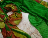 Beautiful ---Unique---  Multicolor Abstract Scarf,  Recycled Sari Pure Silk Scarf (22x68)