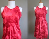 Christmas Red Dress Vintage Mini Satin Brocade Holiday 1990s Small