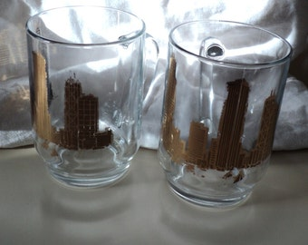 2 Chicago Glass Beer or Cold Drink Mugs with Handles