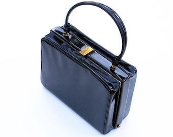 Boxy Black Handbag 1950s Carryall