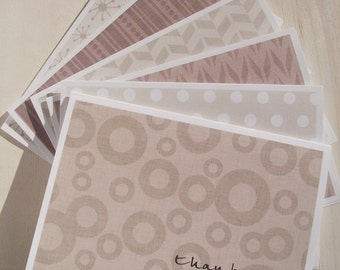 Modern Thank You Cards - Mocha Thank You Notes, Mod Circles Herringbone Dots Geometric Stationery Set, Beige Cream Brown Thank You Card Set