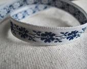 Wildflower jacquard Ribbon NAVY blue on light GREY