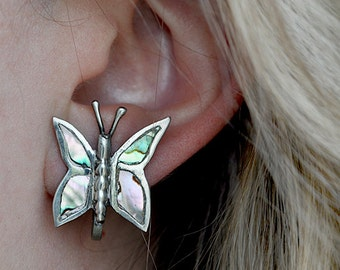 Vintage Silver Butterfly Earrings