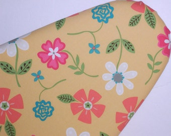 Standard Size Ironing Board Cover in Pink Peach Blue Green and White Floral on Yellow background