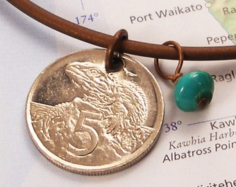 New Zealand, Authentic Coin Necklace - - Ancient Reptile - - Herpatology - Wildlife - World Treasure -