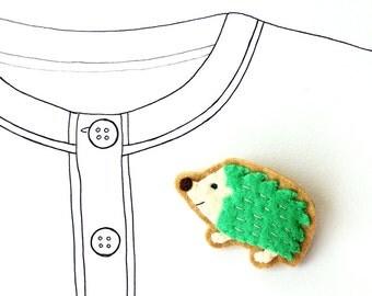 Green Hedgehog Brooch, Animal Brooch, felt pin - READY TO SHIP