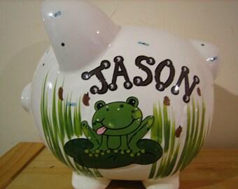 Personalized Large Frog frog Princess Piggy bank- Newborn, Ring Bearer, Baby Shower, Christening, Birthday Centerpiece