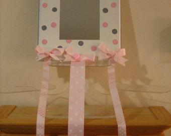 Personalized mirror, picture frame, bow holder- Pink/ Grey Polka dotsNewborn, Fllower Girl , Christening, Communion Gift