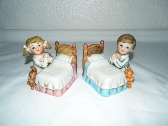 Vintage Homco Home Interiors Bedtime Praying Children No 1420