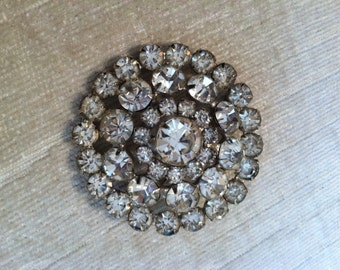 Clear Glass Rhinestone Vintage Brooch