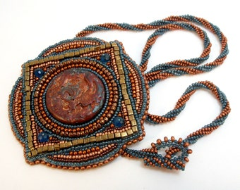 Blue and Bronze Roman Tile Necklace Convertible Brooch Bead Embroidered