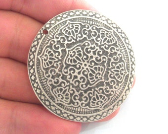 5 Pcs (45 mm) Oxidized Silver Plated  Medallion  Pendants G1100