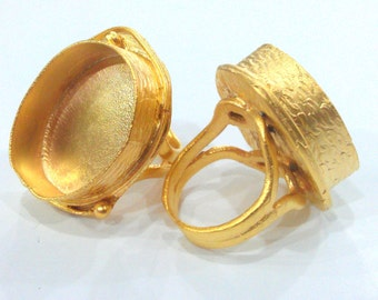 1 Pc  (25x18 mm Blank) Ring Bezel Settings,Cabochon Base,Mountings  Gold Plated Brass G1604