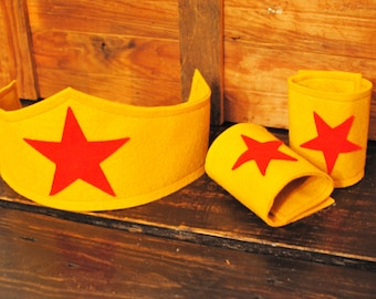 Wonder Woman Super Hero Headband and Cuffs to match our Tutu Dress Costume
