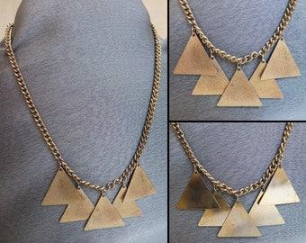 Vintage 1960s Mod Triangle Necklace, Goldtone Brass Geometric Triangle Necklace, Reversible Necklace