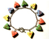 Conversation Heart Charm Bracelet - Valentine's Day Jewelry - Poymer Clay Food Candy - Handmade - Gifts Under 30, 50, 100